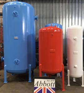 Three Great British quality Air Receivers painted red, white and blue with Abbott Logo