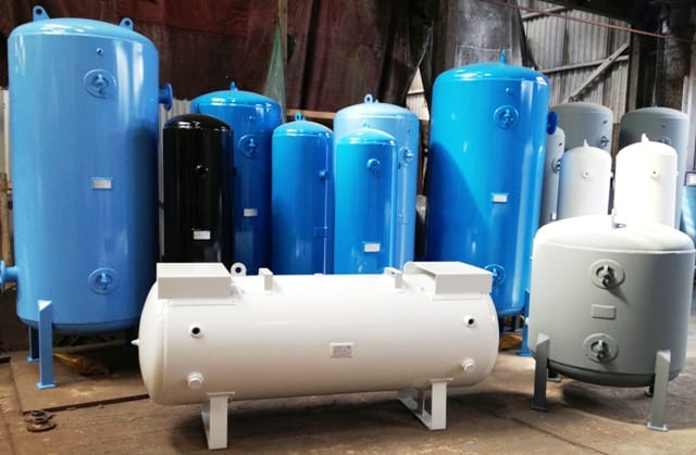 Vertical and horizontal welded Air Receivers and Pressure Vessels